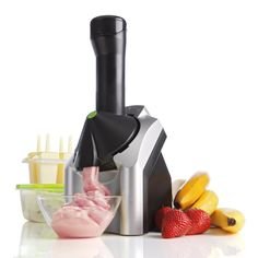 Yonanas Frozen Treat Maker. Place frozen bananas in the maker, add frozen strawberries, blueberries or chocolate, and out comes a creamy frozen treat that tastes like strawberry, blueberry, or chocolate-chip dairy-free ice cream.