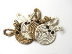 Crochet Coasters Bunny Latte and Cream ~ Crochet Colorful