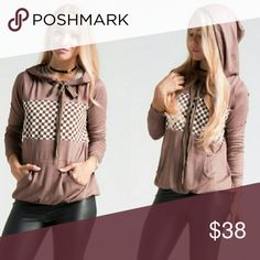 SALE Gingham Print Brown / Mocha Pullover Hoodie Made in USA High Quality, Pullover hoodie w/ kangaroo pocket in Mocha Tops Sweatshirts & Hoodies