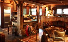 Interior renovation of a 100 year old barn---so many ideas for our barn.  I see lots of potential.