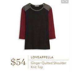 Loveappella Ginger Quilted Shoulder Knit Top
