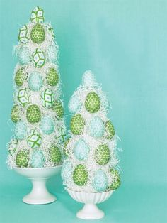 Easter egg topiaries made from decoupaging decorative paper napkins.