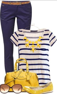 Navy stripe short jeans statement necklace- casual