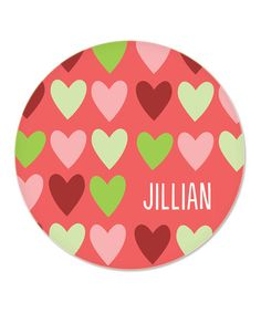 Take a look at this Hearts Personalized Plate by sarah + abraham on #zulily today!