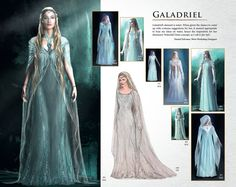 """Galadriel's element is water. When given the chance to come up with costume suggestions for her, it seemed appropriate to base my ideas on water, hence the inspiration for her shimmery Waterfall Dress concept, as I call it (far left ).""- Daniel Falconer, Weta Workshop Designer  [from The Hobbit: An Unexpected Journey Chronicles: Art & Design]"