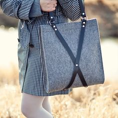 Simple and sophisticated bag designs from a small Polish company. Felt Bag With Leather Handle FOX BLACK BAG by MOOSEdesignBAGS, $126.70