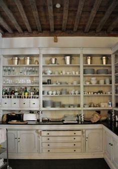 New Kitchen Storage Dishes Butler Pantry Ideas Kitchen Butlers Pantry, Butler Pantry, Kitchen Shelves, Open Kitchen, Kitchen Storage, Kitchen Cabinets, Open Pantry, Open Cabinets, Kitchen Cupboard