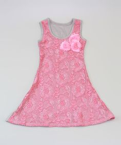 Look at this #zulilyfind! Gray & Hot Pink Lace A-Line Dress - Toddler & Girls by Mia Belle Baby #zulilyfinds
