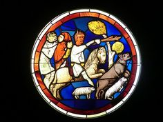 Fragment of stained glass windows dated from the 1200-1300's :Musee :Cluny