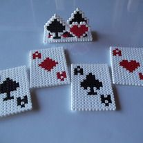 Playing Cards Set of Coasters and Stand perler beads, hama beads, bead sprites from FramedBits on Storenvy. Easy Perler Bead Patterns, Melty Bead Patterns, Diy Perler Beads, Perler Bead Art, Beading Patterns, Peyote Patterns, Hamma Beads 3d, Peler Beads, Fuse Beads