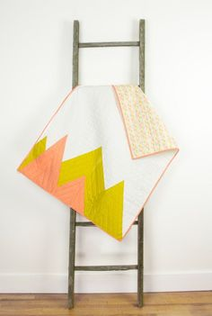 Baby quilt mountains white pink yellow modern by abbeyshousequilts
