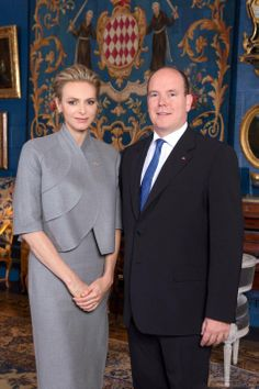 Official portrait of Princess Charlene and Prince Albert II of Monaco, unveiled 16 Dec.  2013. The photograph was taken on Nov 17 in the halls of princely palace