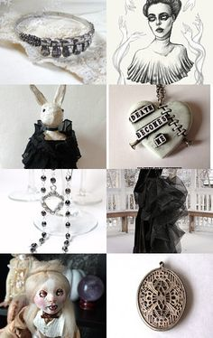 """☛http://www.etsy.com/shop/paroliro """"Penny Dreadful"""" features macabre, Victoriana, Halloween and all year worthy handmade jewelry and fashions in predominately black.  [*Click on image to see all 16 images I chose]☚ --Pinned with TreasuryPin.com"""