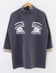 Dark Grey Long Sleeve Eyes Embroidery Sweatshirt US$36.30