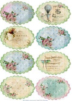 39 ideas vintage paper printable decoupage cards for 2019 Vintage Tags, Images Vintage, Vintage Labels, Vintage Prints, Vintage Roses, Decoupage Vintage, Decoupage Paper, Vintage Paper, Printable Labels