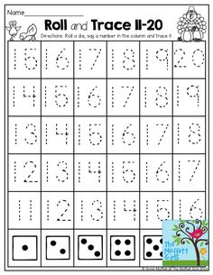 Roll and Trace Numbers 11-20- Roll a die and trace a number.  TONS of interactive NO PREP printables!