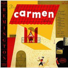 "CvA041. Jean Allain - ""Bizet: Carmen Excerpts"" by Alex Steinweiss / © Remington Records 1953 / 199-15 / #Albumcover"