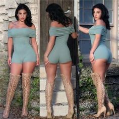 bffb3b878c3 Women Sexy Slash Neck Off Shoulder Bodysuit Rompers Stylish Outfits