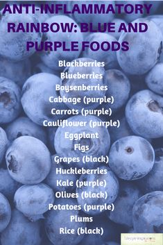 Anti-inflammatory Rainbow: Blue and Purple Foods - Lifestyle Inspirations by Nancy Eating an anti-inflammatory diet means eating a variety of color. This post is all about the bule and purple foods and how they benefit our health. Anti Inflammatory Foods List, Anti Inflammatory Smoothie, Purple Food, Autoimmune Diet, Aip Diet, Candida Diet, Food Lists, Health And Nutrition, Health Heal