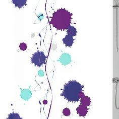 Contemporary fabric shower curtain with artsy design in royal blue and purple great for kids and adults Contemporary Fabric, Curtain Designs, Fabric Shower Curtains, Artsy, Fabrics, Purple, Stuff To Buy, Tejidos, Purple Stuff