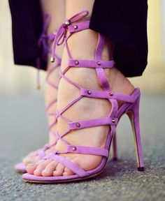 lavender lace up heels / jimmy choo