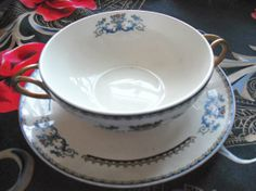 Vintage Bouillon Set  Ivory POPE GOSSER Fifties by SecondhandNel, $14.00