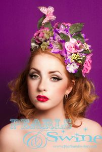 "Image of ""Chrysalis"" Pink Flower Headdress Bird Butterfly Bride Bridal Headwear Wedding Hair Accessories UK"