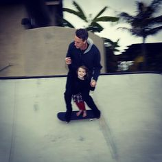 Tony Hawk Skating with His Daughter