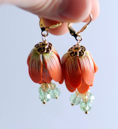 Tangerine Orange flower polymer clay earrings - Etsy seller rotdaris