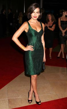 Camilla Belle Cocktail Dress - Camilla showed off her elegant side in this emerald green dress, which she paired with the perfect shade of red lipstick. Emerald Green Cocktail Dress, Elegant Cocktail Dress, Long Cocktail Dress, Cocktail Attire, Cocktail Gowns, Cocktail Movie, Cocktail Sauce, Cocktail Shaker, Cocktail Recipes