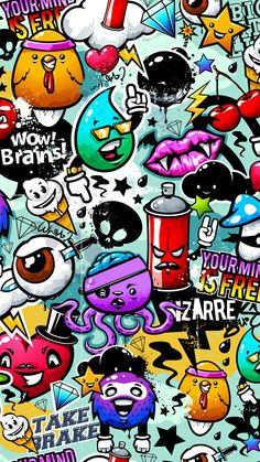 Graffiti Awesome Wallpaper for iPhone - Street Art Cartoon Wallpaper, Graffiti Wallpaper Iphone, Wallpaper Doodle, Galaxy Wallpaper, Book Wallpaper, Wallpaper Ideas, Girl Wallpaper, Screen Wallpaper, Disney Wallpaper