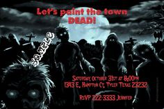 Zombies Halloween Birthday Party Invitations - Get these invitations RIGHT NOW. Design yourself online, download and print IMMEDIATELY! Or choose my printing services. No software download is required. Free to try!
