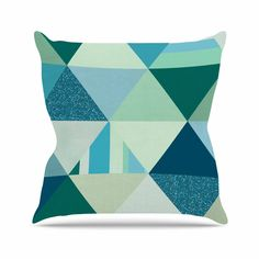"""Noonday Design """"The Triangle Blues"""" Geometric Blue Outdoor Throw Pillow"""