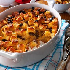 Bread Pudding Recipe -Back in 13th-century England, bread pudding was called poor man's pudding. Leftover bread was simply soaked in water, then seasoned with sugar and spices. Todays version features eggs, milk and butter.—Evette Rios, Westfield, Massachusetts