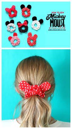Mickey Mouse ears scrunchie - A girl and a glue gun - The Effective Pictures We Offer You About diy home decor A quality picture can tell you many thing - Disney Cute, Diy Disney Ears, Diy Mickey Mouse Ears, Disney Hair Bows, Disney Crafts For Kids, Sewing Crafts, Sewing Projects, Diy Hair Accessories, Disney Halloween