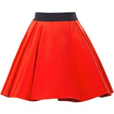 Fausto Puglisi Pleated Cady Skirt (1,710 CAD) ❤ liked on Polyvore featuring skirts, red skirt, frilly skirt, ruffle pleated skirt, pleated skirt and flounce skirt