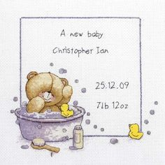 Bath Time Birth Sampler Cross Stitch Kit - Cross Stitch Kits I Love Cross Stitch