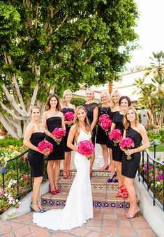 Bride with bridesmaids in little black dresses in La Quinta, California.