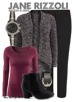 """""""Rizzoli and Isles"""" by wearwhatyouwatch ❤ liked on Polyvore featuring AllSaints, Dorothy Perkins, H&M, Mossimo Supply Co., Toy Watch, oversized cardigans, ankle boots, two-tone watches, angie harmon and straight leg trousers"""