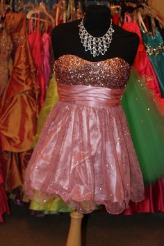 sequin top light pink short semi formal homecoming sweethearts or prom dress! Available for rent at Dazzling Dress Rentals in Riverton, UT 8018084656