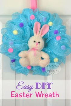 Easter Craft for Kids | A full tutorial on how to make a simple Easter Bunny wreath for a child's door. Kids can help make some of it.