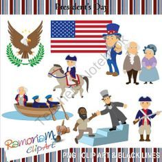 Presidents Day Clip art from RamonaMClipArt on TeachersNotebook.com -  (27 pages)  - The set includes:  - Abraham Lincoln reaching out to a black slave; - The American flag; - Bald eagle emblem; - George Washington; - Martha Washington; - Soldier holding a gun; - Soldier riding a horse; - Uncle Sam; - Washington crossing the Delaware