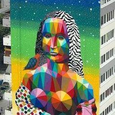 Okuda San Miguel's Tallest Mural - Visi Urban Street Art, Best Street Art, Urban Art, Graffiti, Mona Lisa, Okuda, Night Gallery, Urbane Kunst, Art Thou