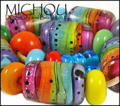 MICHOU- lampwork beads ♥ Over the Rainbow ♥ (23) SRA