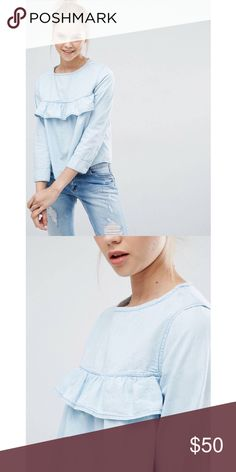 Chambray Top NWT Tops Blouses