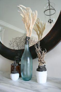 details of sea encrusted bottles
