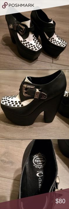 """Jeffrey Campbell black and white Warning platform Amazingly awesome pair of black and white Jeffrey Campbell """"Warning"""" platform heels with a woven upper. These 5.75"""" heel and 2"""" platforms have an awesome and intricate designed buckle. Leather uppers man made sole. Made in China. There are minor wear marks which can actually be buffed out to appear brand new (see the last picture) Jeffrey Campbell Shoes Platforms"""