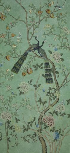La couleur tendance Saint Laurent wallpaper panel, chinoiserie collection (from Gournay) Oriental Wallpaper, Chinese Wallpaper, Chinoiserie Wallpaper, Wallpaper Panels, Wall Wallpaper, Zuber Wallpaper, De Gournay Wallpaper, Green Wallpaper, Wall Murals