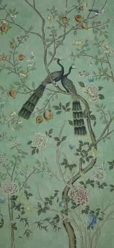 Panneau de papier peint Saint Laurent, collection chinoiseries (de Gournay)