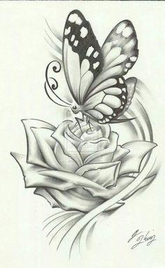 Vlinder op roos